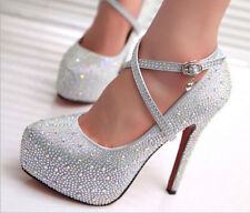 wedding bridal crystal high heels shoes size 2 3 4 5 6 womens slingback platform
