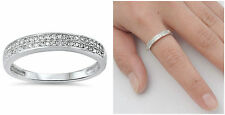 Sterling Silver 925 SEMI HALF ETERNITY DESIGN CLEAR CZ BAND 3MM RING SIZES 5-10