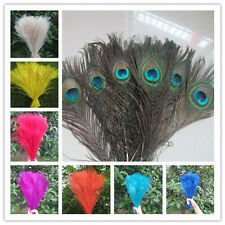 """10/50pcs Natural Peacock tail feathers 25-30cm/10-12"""" for Craft Trimmings Decor"""
