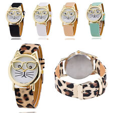 Cartoon Cat Watch With Glasses Fashion Women's Quartz Watches Leather Strap New
