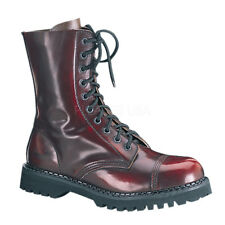 Demonia ROCKY-10 Leather Shoes & Boots Burgundy Rub-Off Leather Hiking Combat