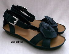 NEW CLARKS PURELY CRYSTAL WOMENS NAVY BLUE NUBUCK LEATHER SANDALS