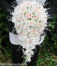 Wedding Flowers Shower Bouquet Rose, Lily & Pearl Any Colour Posy Teardrop Bride