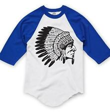 NW PRINTED INDIAN SKULL HIPSTER FUNNY 3/4 SLEEVES REGLAN BASEBALL COTTON T-SHIRT
