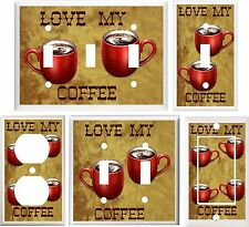 COFFEE LOVE MY COFFEE KITCHEN DECOR LIGHT SWITCH COVER PLATE OR OUTLET V008