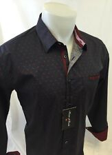 Mens HOUSE of LORDS Designer Woven Dress Shirt GRAY Red Paisley Cotton NWT 120