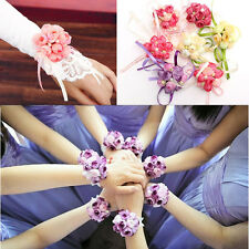Wrist Corsage Bracelet Bridesmaid Sisters Hand Flowers Wedding Party Bridal Prom