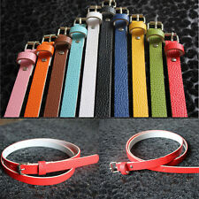 8 Colors Women Faux Leather Thin Skinny Waist Belt Metal Buckle Casual Belt