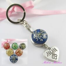 Noosa Style Mum Heart Keychain Key Ring & Glitter Snap Chunk Button Pick Colour