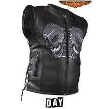 Mens Leather Vest With Skulls On Front & Back With Split Cowhide Leather New