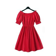 Women's Red Dress Sexy Off The Shoulder Summer Party Puff Sleeve Dresses S-XXL