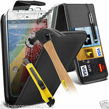 Top Flip Quality Leather Phone Case Cover✔Glass Screen Protector for Motorola