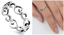Sterling Silver 925 SIDEWAYS HEARTS DESIGN SILVER PROMISE RING 6MM SIZES 3-10