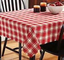 Breckenridge Rustic Primitive Country Red Plaid 100% Cotton Burlap Tablecloth