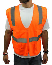 4 Pockets Orange Solid Mesh High Visibility Safety Vest, ANSI/ ISEA 107-2010