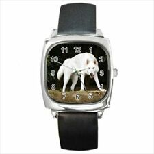 Northern Inuit Dog Round & Square Leather Strap Watch