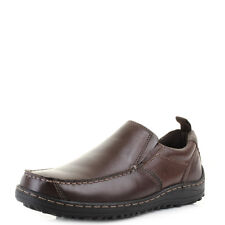 Mens Hush Puppies Belfast Slip On MT Brown Leather Slip On Shoes Shu Size