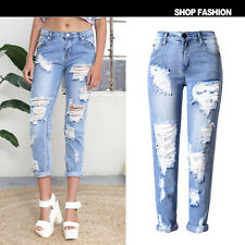 Sexy Fashion Womens Ladies Celeb Faded Ripped Denim Skinny Pants Jeans Trousers