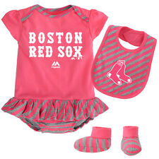 Boston Red Sox Pink Baby Girls Infant Creeper, Bib, Booties Gift Set