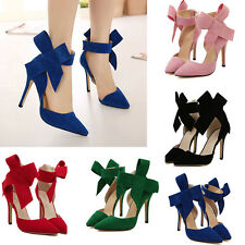 Women Big Bowknot Pointed Toe Strap High Thin Heels Evening Party Bridal Shoes