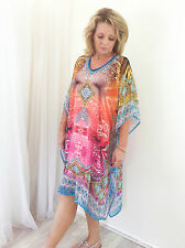 Pink Blue Crystal Embellished Cocktail Casual Caftan Resort Coverup Dress BNWT