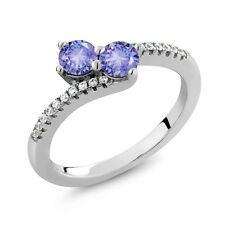 0.84 Ct Round Blue Tanzanite Two Stone 925 Sterling Silver Ring