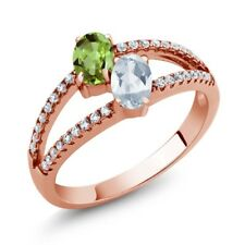 1.41 Ct Green Peridot Sky Blue Topaz Two Stone 18K Rose Gold Plated Silver Ring