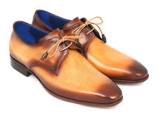 Paul Parkman Men's Brown & Camel Hand Painted Derby Shoes - Hand Made