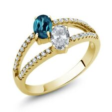 1.41 Ct London Blue Topaz White Topaz 18K Yellow Gold Plated Silver Ring