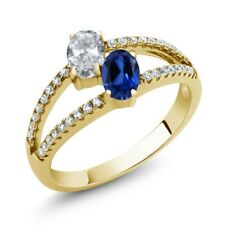 1.41 Ct White Topaz Simulated Sapphire 18K Yellow Gold Plated Silver Ring