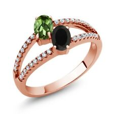 1.30 Ct Green Tourmaline Black Onyx Two Stone 18K Rose Gold Plated Silver Ring