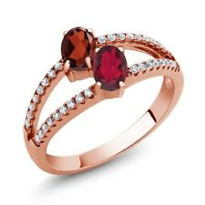1.41 Ct Garnet Ruby Red Mystic Topaz Two Stone 18K Rose Gold Plated Silver Ring