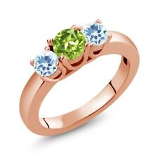 1.16 Ct Round Green Peridot Sky Blue Topaz 18K Rose Gold Plated Silver Ring