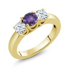 4.66 Ct Round Purple Amethyst White Topaz 18K Yellow Gold Plated Silver Ring