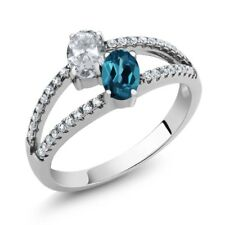 1.41 Ct Oval White Topaz London Blue Topaz Two Stone 925 Sterling Silver Ring