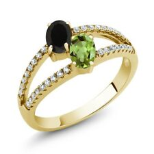 1.30 Ct Black Onyx Green Peridot Two Stone 18K Yellow Gold Plated Silver Ring