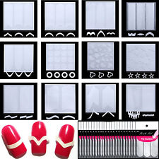 12 Styles New Designs Nail Art Stencils Decal Stamp Stickers Manicure French DIY