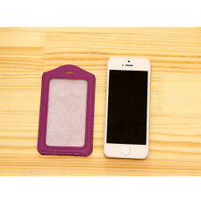 2016 Vertical ID Badge Holder Vinyl Case Clear with Color Border