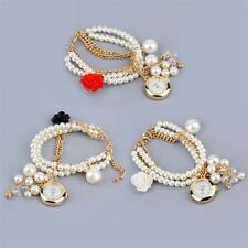 Flower Pearl Dial Rose Wristwatch Watch Strap Bracelet Chain Women Beads QT
