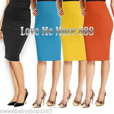 Womens High Waisted Stretch Slim Fitted Casual Summer Pencil Straight Chic Skirt