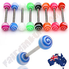 316L Surgical Steel Tornado Acrylic Ball Barbell Tongue Ring