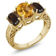2.80 Ct Checkerboard Citrine and Smoky Quartz 18K Yellow Gold Plated Silver Ring