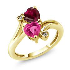 1.80 Ct Pink Created Sapphire & Created Ruby 18K Yellow Gold Plated Silver Ring