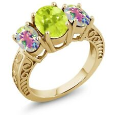 3.25 Ct Lemon Quartz and Mystic Topaz 18K Yellow Gold Plated Silver Ring