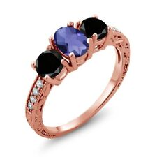 1.87 Ct Checkerboard Blue Iolite Black Diamond 18K Rose Gold Plated Silver Ring