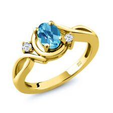 1.03 Ct Checkerboard Swiss Blue Topaz & Topaz 18K Yellow Gold Plated Silver Ring
