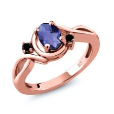 0.72 Ct Checkerboard Blue Iolite Black Diamond 18K Rose Gold Plated Silver Ring