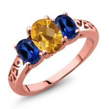 2.25 Ct Checkerboard Citrine Simulated Sapphire 18K Rose Gold Plated Silver Ring