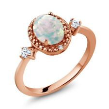 1.16 Ct Cabochon Opal & White Created Sapphire 18K Rose Gold Plated Silver Ring