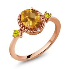 1.39 Ct Checkerboard and Citrine Canary Diamond 18K Rose Gold Plated Silver Ring